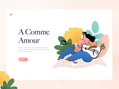 a comme amour illustration web sincerity people mat ginkgo leaf girl sing guitar amour color design art ui facebook dribbble behance clean