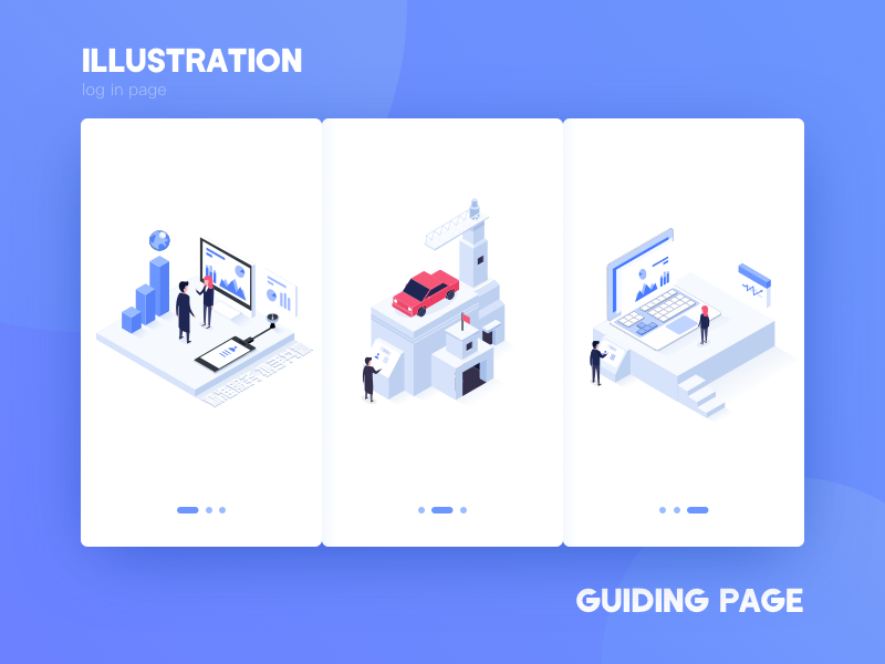 guiding page isometric 2.5d illustration