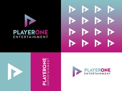 PlayerOne Entertainment Logo vector ui logo illustrator illustration icon flat design branding art