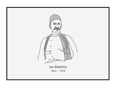 Isa Boletini vector outline november illustration design albania