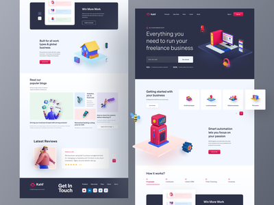 Business Management Landing Page uidesign user interface design landing page business management system 3d art kahf 3d business landing page website design company website design webdesign
