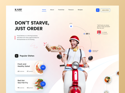 Food Delivery Landing Page Design delivery app food delivery application food delivery service food delivery food webdesign website design design user interface design uidesign kahf landing page