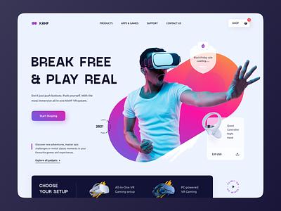 VR Website Design ui design uiux ui user interface design uidesign kahf website design landing page