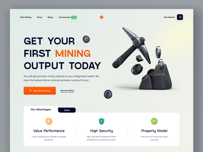 Crypto Mining Landing page concept. uidesign design uiux user interface design website design landing page mining coin crypto
