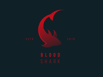 Blood Shark red branding icon logo design vector illustration adobe illustrator sharks bloody blood shark