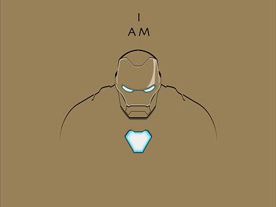 I AM tonystark ironman avengers infinity war endgame marvel design icon illustration vector adobe illustrator