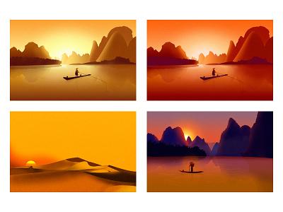 Gradient landscape illustration illustration