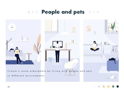 People and pets page illustration