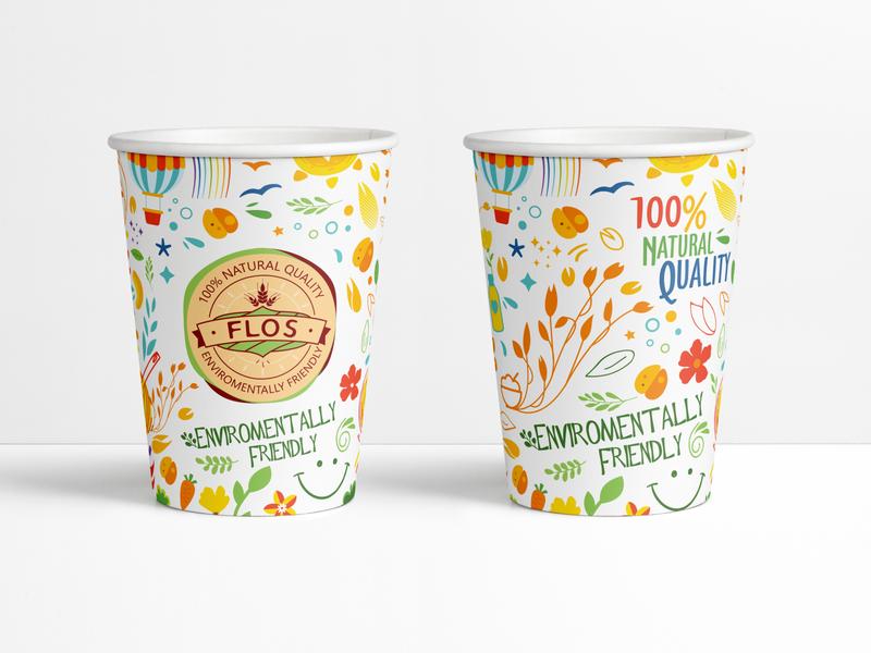 Flos cup vector colorful cup brandbook identity branding logo design