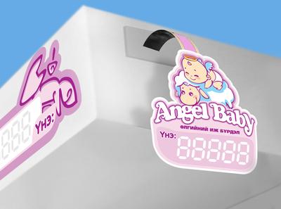 Angel Baby clothes tag purple angel wear tag design tag clothes baby kids brandbook identity branding design