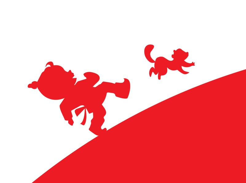 Bumbardai characters running chasing chase running run chipmunk red drawing draw characters vector poster brandbook illustration branding design