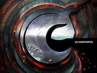 LS Motors advertisment ads photomanipulation metal motors motor car manipulation poster identity logo design