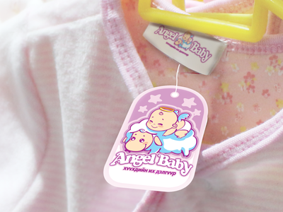 Angel Baby - Cloth Tag baby clothes brandbook identity branding logo design tag design pink baby cloth tag angel