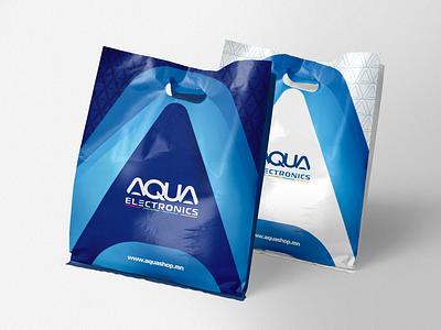 Aqua Electronics - Plastic bag design blue motif brandbook identity branding logo design aquatic aqua water plasticbag bag plastic bag