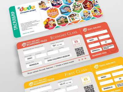 Boarding Ticket of Childrens Museum museum character identity branding logo design illustration childrens children ticket boarding pass boardingpass boarding