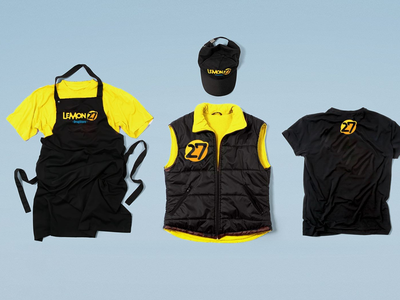 Drugstore uniform supermarket shop yellow lemon drugstore uniform brandbook identity branding logo design