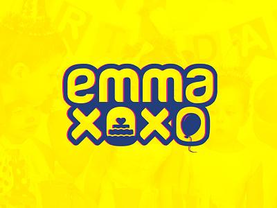 Emma Xoxo logo birthday cake balloon blue yellow logo xoxo emma