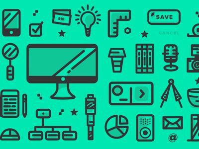 MakeTime UX & Manufacturing Icon Pattern
