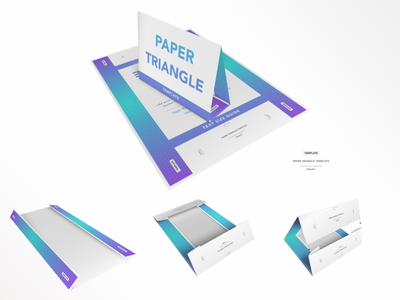Faux 3D Paper Triangle Template - Print, Fold, Stand on Paper. faux 3d magic mirror print sketch sketchapp free throw gradient fold real stand paper