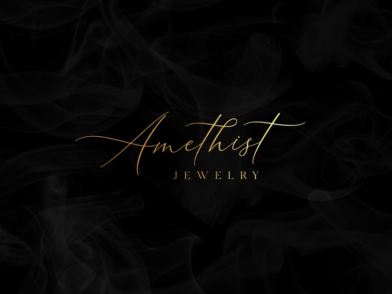 "A logo for a jewerly brand ""Amethist"" jewelry feminine elegant gold calligraphy lettering graphic design design typography identity simple clean logo"