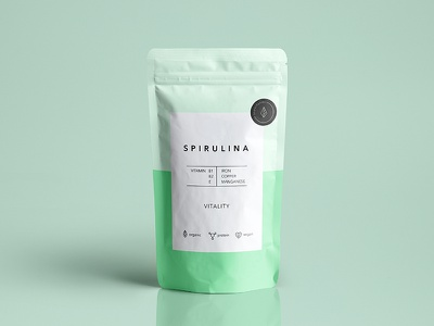 """Spirulina pouch design for a brand """"Superfoods"""" pouch food packagedesign package modern graphic design design simple clean"""