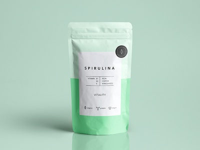 "Spirulina pouch design for a brand ""Superfoods"" pouch food packagedesign package modern graphic design design simple clean"
