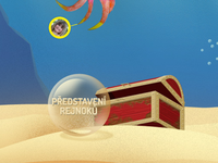 Wooden chest on the ocean floor with bubble