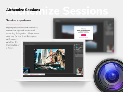 Alchemize billing recording screensharing sessions videocalls video pink white interface ux ui web-design