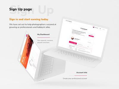 Alchemize photographers account dashboard signup video orange pink white interface ux ui web-design