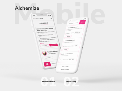 Alchemize web-design ui ux interface white pink expert mobile history dashboard