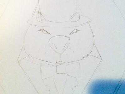 Classy Wombat sketch wombat logo