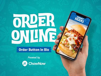 Jimmy Hula's Online Ordering florida jimmyhulas chownow mobile graphic design advertisement branding restaurant branding orlando jimmy hulas