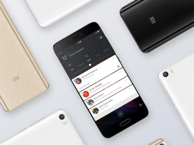 Redesign MIUI : Status bar, notification nougat ux ui android 7 design miui9 xiaoimi rom android app phone miui