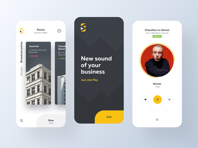 New Sound for Your Business mobile music app sound ux ui points player play business music app