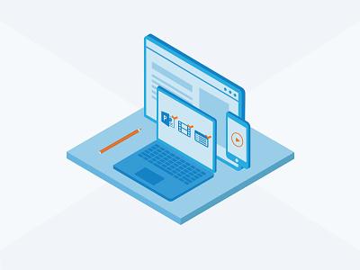 Isometric Illustration tracking management creation enterprise technology tech illustration isometric