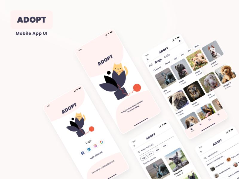 Daily UI Challenge: ADOPT Mobile App illustration concept mobile app design ux mobile inspiration mockup user interface user experience ui