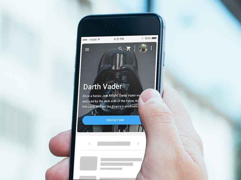 Star Wars Makes Your Designs Better. Duh interface concept ui design mockup design prototype user interface contact mobile darth vader star wars placeholder