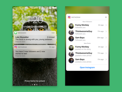 Notifications and 3D Touch - iPhone ui design app iphone notifications apple animation principle