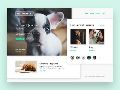 Adopt Today! branding design ui interface dogs rescue adopt animals photography hero landing page web design