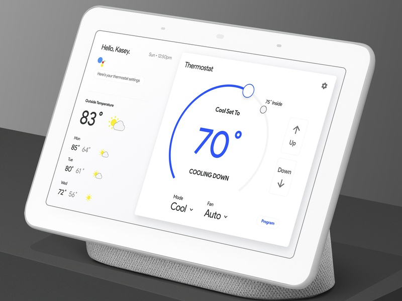 """""""Hey Google, what's the thermostat at?"""" ux inspiration google home app smart app concept product design material design user interface mockup app user experience design ui"""
