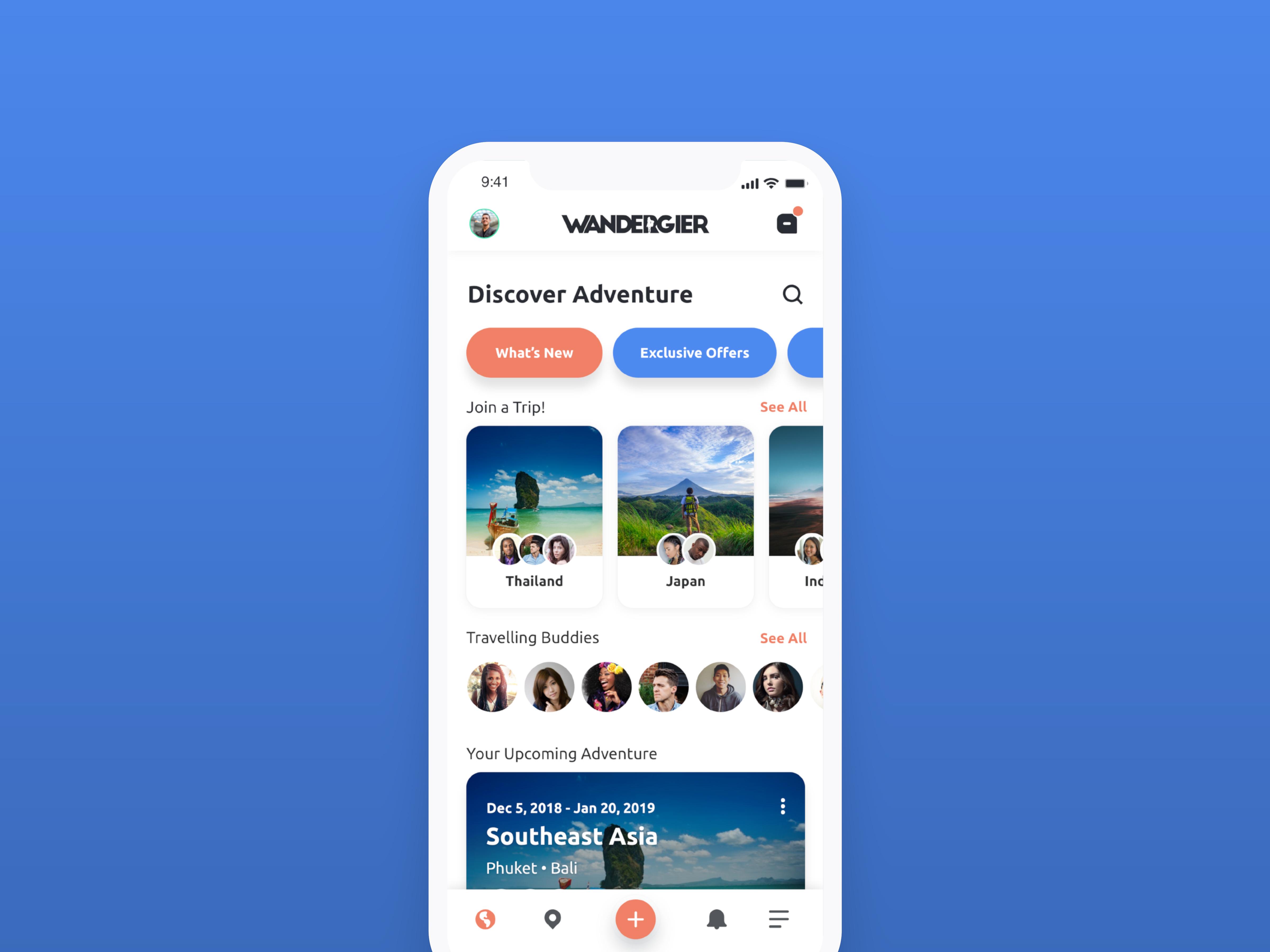 Kasey randall wandergier mobile app ui 1