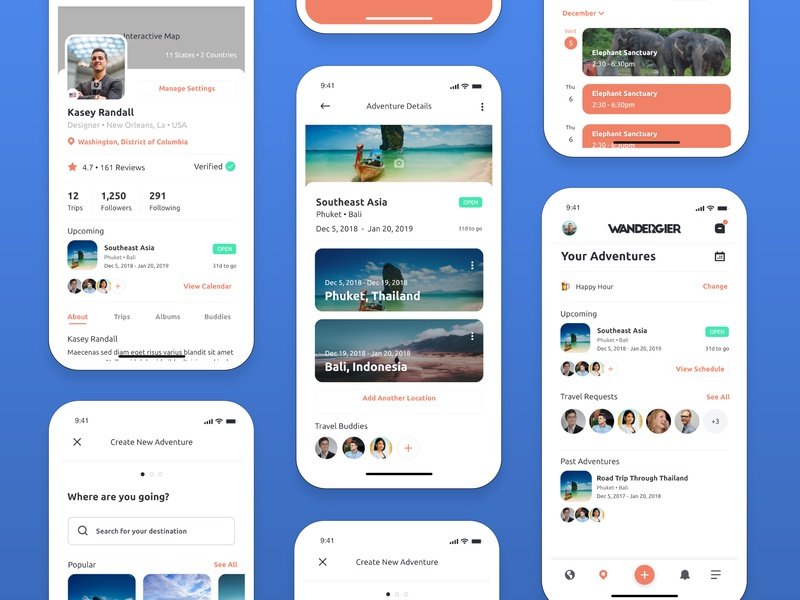 Wandergier • Mobile App Design inspiration react travel app app design color clean product design ux mobile user interface mockup app user experience design ui