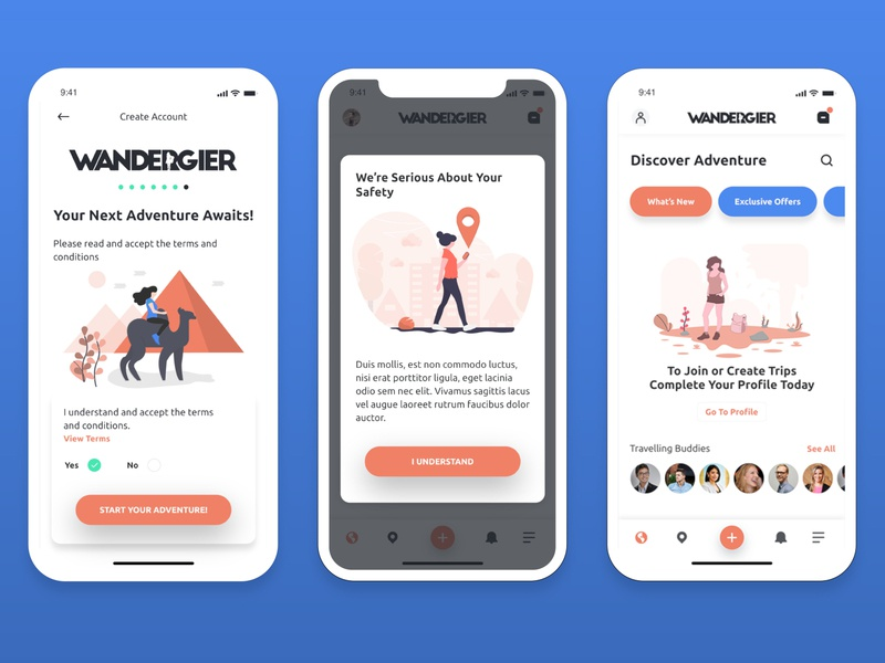 Travel Different with Wandergier (coming soon) user interface user experience travel app mobile app mobile ui dashboard undraw illustration inspiration uiux ux design ui design app design