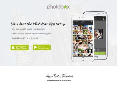 PhotoBox App Landing Page photobox web design ux ui branding