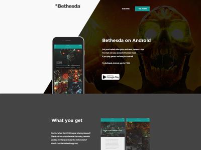 Bethesda App Landing Page bethesda doom web design ux ui branding