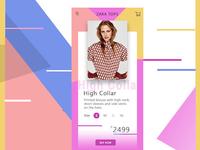 Mobile app screen for E-commerce website