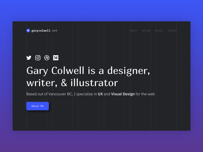 Grid-based personal website hero section grid layout typography hero section homepage web design