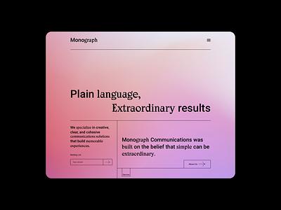 Monograph Communications website homepaged web colour typography ux ui webflow website minimal web design