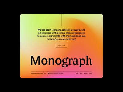 About • Monograph Communications clean font ui branding typography logo web design design minimal colour color