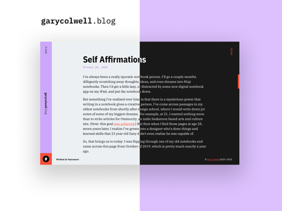 Introducing → garycolwell.blog webflow minimal colour web design design blog